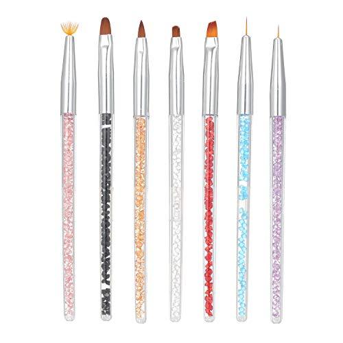 Anself 7 Stück Punktierung Stift Acryl Nagelbürsten UV Gel 3D Nail Art Design Malerei Zeichnung Liner Pen Set mit Acryl Strass Griff Schöne Nagel Werkzeuge