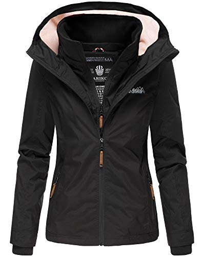 Marikoo Designer Damen Übergangs Jacke leicht gefüttert Kapuze kurz B659 [B659-Erdbeer-Schwarz-Gr.M]