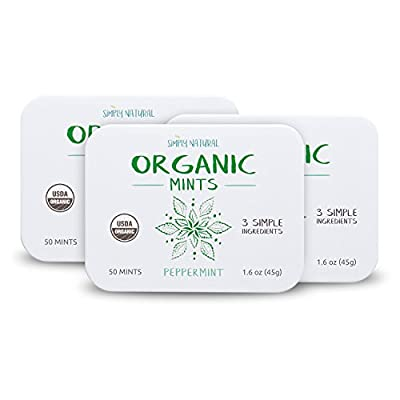 Simply Natural Organic Breath Mints, Peppermint, 3 SIMPLE INGREDIENTS, Certified Organic, Vegan, 50-Piece Tins, (Pack of 3) 150 Pieces