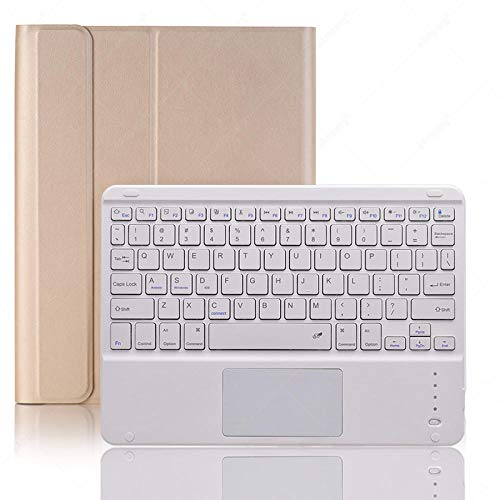 guangcheng Touchpad Keyboard Case For Ipad Air 3 2019 Pro 10.5 3rd Generation Pencil Holder Leather Silicone Soft Cover Detach Bluetooth (Color : Gold+White, Size : For iPad Pro 10.5)