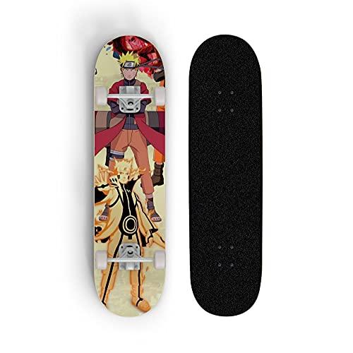 FWTL Skateboard para Uzumaki Naruto, Doble tild Scooter de Cuatro Ruedas, monopatín para Principiantes, Deportes Extremos al Aire Libre, Regalo de niño y Adolescente