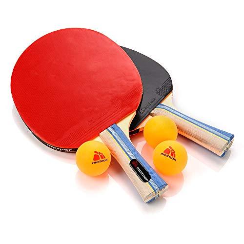 Pala Tenis de Mesa Table Tennis Set 2 Raquetas 3 Pelotas de Ping-Pong Ideal para Principiantes y avanzados Tenis de Mesa para niños y Adultos - Ping Pong para Entrenamiento y Partidos (2 Estrellas)