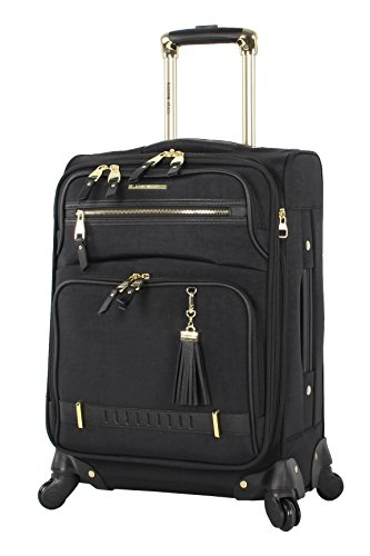 Steve Madden Designer 20 Inch Carry On Luggage Collection - Lightweight Softside Expandable Suitcase for Men & Women - Durable Bag with 4-Rolling Spinner Wheels (Peek-A-Boo Black)