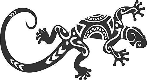 Toptshirt Sticker Autocollant Gecko lézard Salamandre Maori Tribal. Dimensions: 22 x 13 cm Couleur Noir