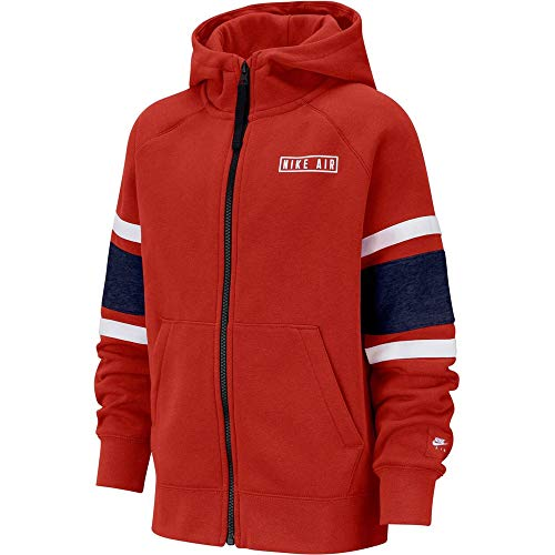Nike Jungen B NK AIR Hoodie FZ Sweatshirt, University red/Blue Void/White/White, M