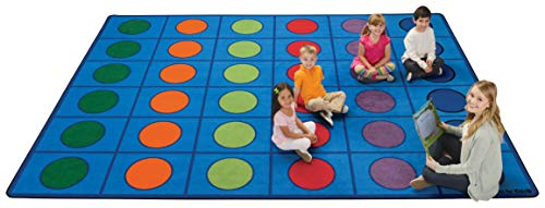 Carpets for Kids Seating Circles Rug 4218 Seats 30, Rectangle 8ft x 12ft