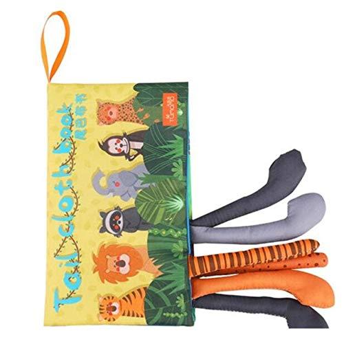 LINL Juguetes para los Libros Infantiles para niños de Dibujos Animados de Animales en 3D de Aprendizaje Tela Impermeable de la Cola de Libros de educación en los Tejidos Blandos,Amarillo