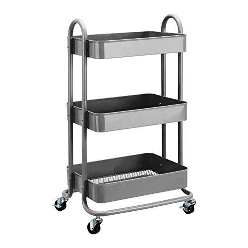 Amazon Basics - Carrito de cocina o multiuso de tres niveles con ruedas en color gris oscuro
