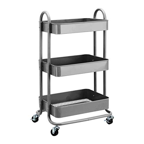Amazon Basics - Carrello con ruote a 3 scomparti, carbone