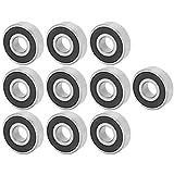 Rodamientos rígidos de bolas, rodamientos de bolas, rodamientos de patineta, 10 piezas 6201-RS Rodamiento de bolas de acero de ranura profunda de 12 mm para patines de ruedas