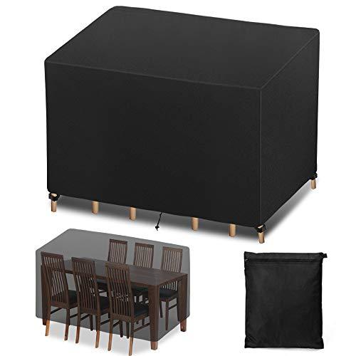 Funda para Muebles de Jardín, Funda Protectoras Muebles Jardin, Cubierta de Muebles de Mesas Rectangular, Cubierta de Mesa de jardín, Cubierta de Exterior Impermeable, Anti-UV (250 x 210 x 90cm)