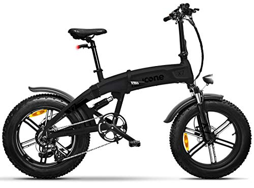 icone Total Deep Black, Fat-Bike Bicicletta Elettrica Pieghevole a Pedalata Assistita 20' 250W Icon.E iCross X7 Gioventù Unisex, No Size