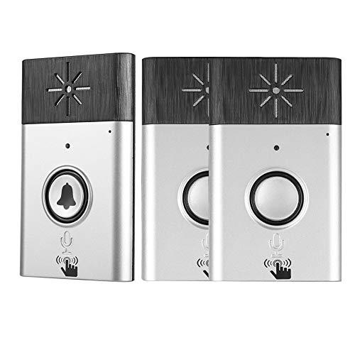 Campanello senza fili, kit campanello portatile senza fili per porte 2 interni / 1 citofono vocale esterno per controllo accessi campanello per casa, ospedale, ufficio, ecc.(Argento)
