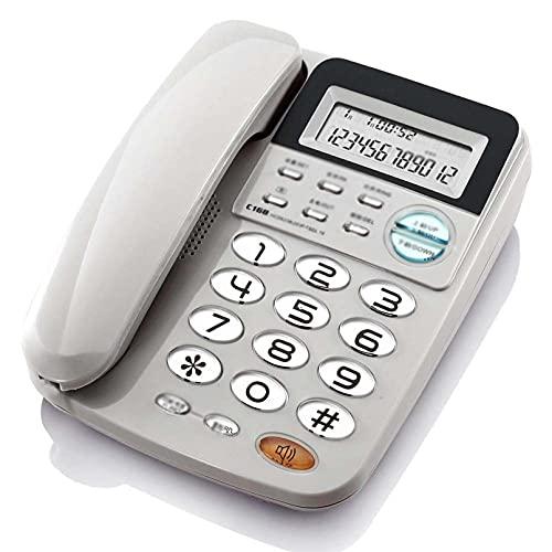 Teléfono con Cable Pantalla de identificación de Llamadas Super Tono de Llamada Teléfono Fijo Teléfonos con Botones Grandes Botón de Cristal de Cuerpo de plástico para Personas Mayores Oficina en ca