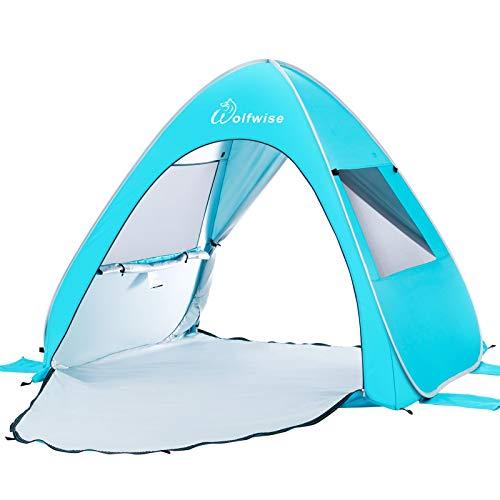 WolfWise UV-Schutz 50+ Pop up Strandmuschel Automatisches Strandzelt mit Ausziehbarer Boden Familien Portable Baby Beach Zelt in Outdoor Tragbar Wurfzelt