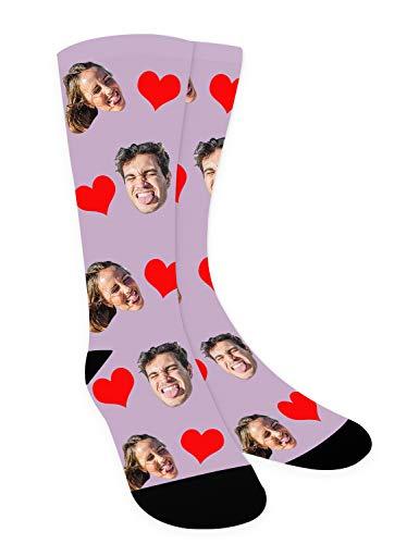 Zhovee Calcetines novedosos, calcetines con foto para hombres y mujeres, calcetines para parejas personalizados