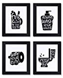 Bathroom Decor Wall Art Prints with Frames;Funny Bathroom Sign 8×10 inch set of 4 (Black and White) (B)