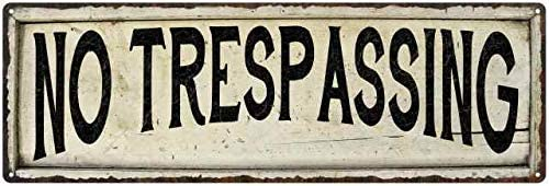 NO TRESPASSING Farmhouse Style Wood Look Sign Gift   Metal Decor 106180028233