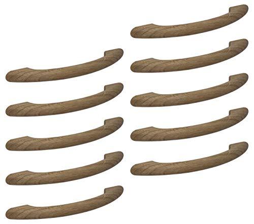 Gedotec Moderner Schubladengriff 128 mm Möbelgriff Holz-Griff Bogengriff Küche aus Eichenholz | Bohrabstand 128 mm | Länge 170 mm | Eiche natur | 10 Stück - Design Schrankgriff mit M4 Gewindeschrauben