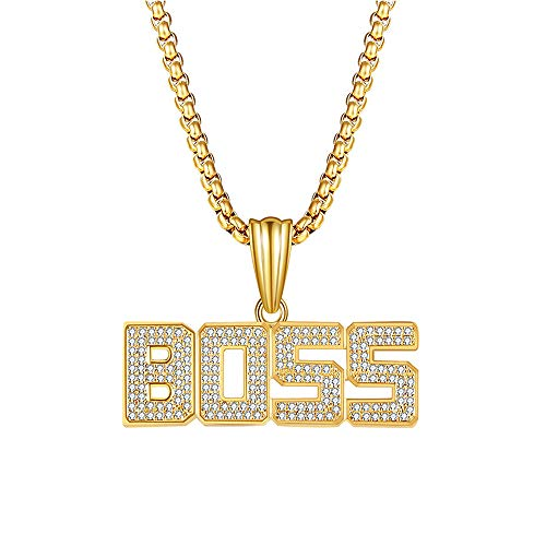 Top WHY Hip Hop Chain Necklace Pendant Gold Iced Out Necklace Chain with BOSS Pendant for Men,25.6inch