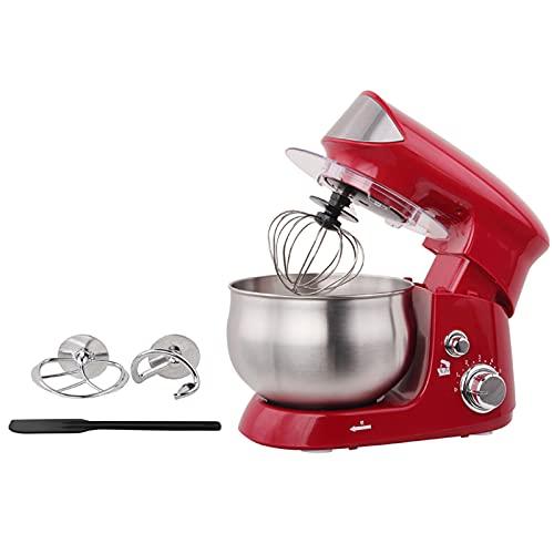 Robot de cocina multifunción de 3,5 l, 600 W, con juego de accesorios para amasar, batir y agitar, de acero inoxidable, con diseño antideslizante (rojo)
