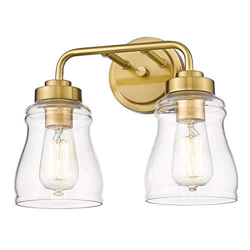 CALDION 2-Light Vanity Lights, Vintage Bathroom Light Fixtures with Clear Glass Shades, Brushed Gold Finish, 2695VL-BG-2