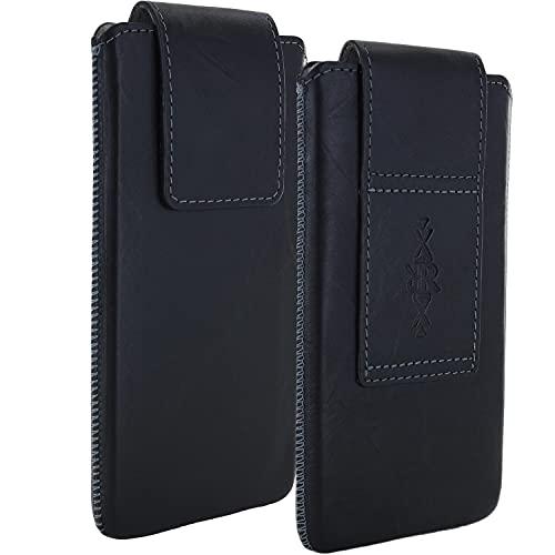 La funda universal 4XL para teléfono de la correa de cuero genuino es compatible con Huawei P30 Pro / P40 Lite / P40 Pro / Nova 5t / Motorola Moto G8 Play Power Plus / Samsung Galaxy A10 A50 A51 M21 M31 Funda para teléfono celular negra
