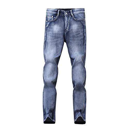 Pantalones Vaqueros para Hombre Verano Tendencia Fina Estiramiento Delgado Casual Vaqueros de Moda de Todo fósforo Ropa de Calle Vaqueros Casuales Rectos 36