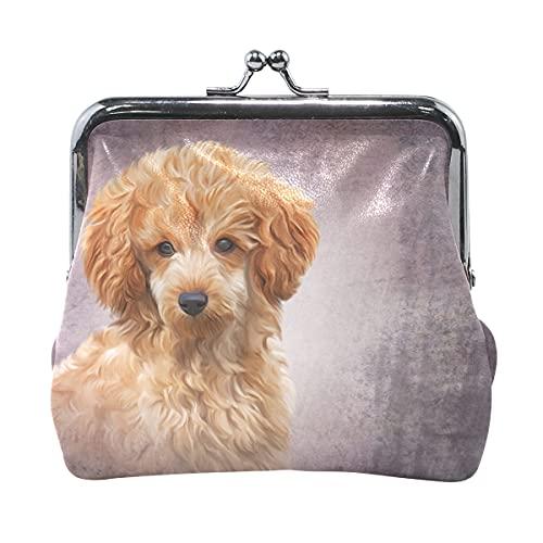 Pequeñas carteras para mujer dibujo ilustración de juguete rojo caniche cachorro titular con cierre de beso monedero de cuero para mujeres niñas 4.5 x 4.1 pulgadas