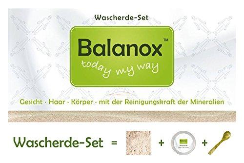 Balanox Wascherde-Set | biologisch abbaubare weiße Lavaerde-Mineralerde | rein minerlaisch, vegan | 300g Waschderde + Tiegel + Löffel