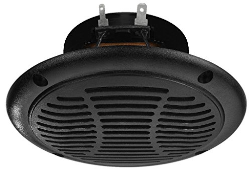 MONACOR SPE-110P/SW wetterfester Einbau-Lautsprecher mit 15 Watt Nennbelastbarkeit und einer Impedanz von 4 Ohm, temperaturfester Breitband-Lautsprecher hält bis zu 120 Grad Celsius aus, in Schwarz