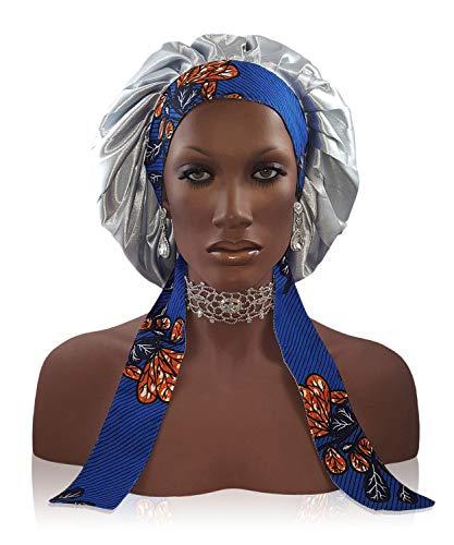 Silk Feel Bonnet 2 couches en polyester satiné pour femme Argent Small