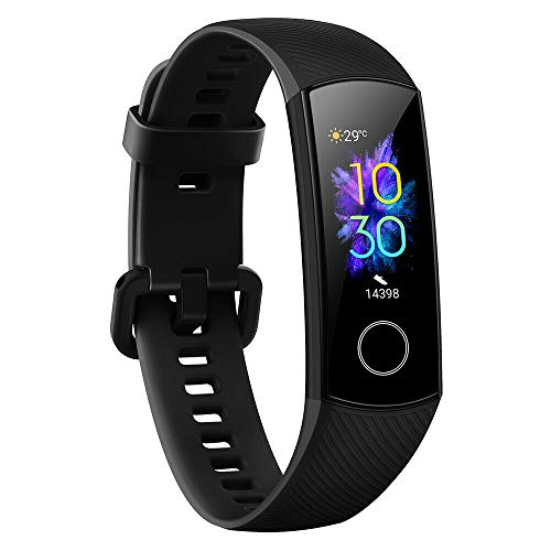 PADY Compatible with Original Honor Band 5 Smart Bracelet 3 Color AMOLED Screen Blood Oxygen Heart Rate Fitness Tracker Sport Waterproof Smartband 5ATM Waterproof (Black-Honor Band 5)