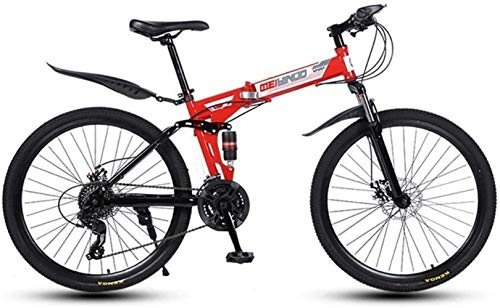 Dirty hamper Folding Variable Speed 26 Inch Mountain Bike, High-Carbon Steel Frame Bikes, Shock Absorption Dual Disc Brake Bicycle Foldable Bicycle (Color : Red, Size : 21speed)