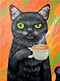 SuperDecor Paint by Number for Adults Kids Beginner DIY Oil Painting Kit on Canvas Black Cat Drinks...