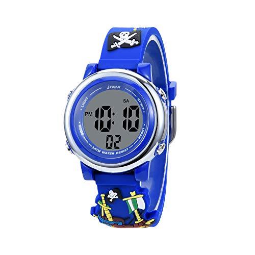 orologio digitale per bambini KZKR orologio ragazza orologio ragazzo sport retroilluminazione sveglia orologio bambino ragazza ragazzo silicone 12   24h Insegnante - Blu Pirate