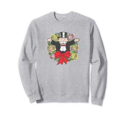 Monopoly Christmas Rich Uncle Pennybags Money Wreath Sudadera