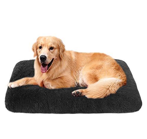 LRuilo Hundebett Abnehmbare Hundekiste Matratzenauflage Flauschiges großes Hundebett weiches Welpensofa Katze Schlafunterlage Luxus-Kistenauflage für große mittelgroße (120 * 90 * 10 cm,Dunkelgrau)