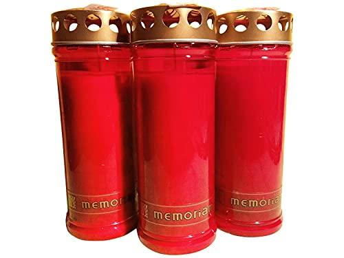 Kompositionsöllicht Memoriam Nr. 633 mit Deckel (20 Stück) - weiß oder rot - Grabkerzen, Grablichte, groß … (rot)