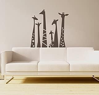 N.SunForest Set of 6 Animal Wall Sticker Giraffe Necks Safari Vinyl Wall Art Wall Decal Living Room Baby's Room Decor