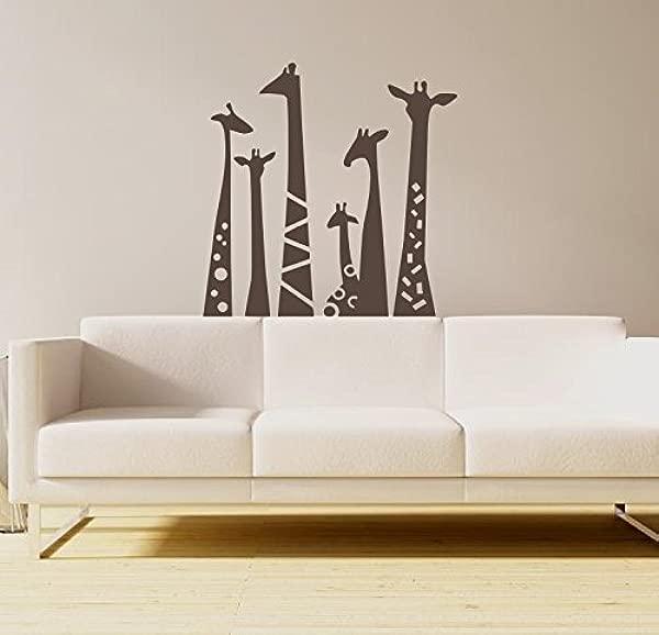 N SunForest Set Of 6 Animal Wall Sticker Giraffe Necks Safari Vinyl Wall Art Wall Decal Living Room Baby S Room Decor