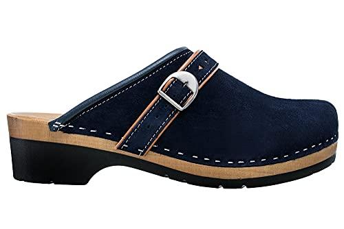 ESTRO Zuecos De Madera para Mujer Calzado Sanitario De Trabajo CDL05 (Azul Oscuro, 39)