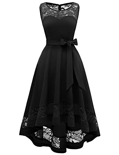 Gardenwed Damen Kleid aus Spitzen Elegant Unregelmässig Cocktailkleid Abendkleider festlich Ballkleid Brautjungfernkleider Brautkleider für Hochzeit Black M