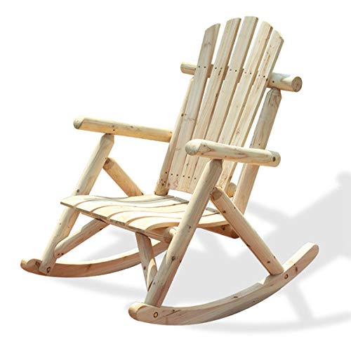 Adirondack chair wooden bench rocking chair outdoor contemporary furniture in solid wood log deck single chair rocking chair-Natural Color