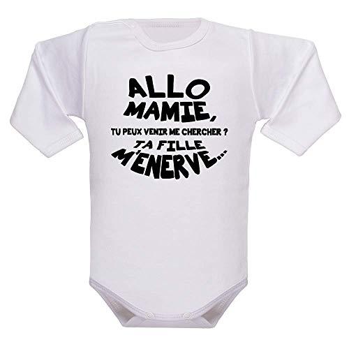 bodybebepersonnalise.fr Body bébé manches longues, fille et garçon, bodies rigolos et humour, 100% coton, cadeau bébé - blanc, 3-6 mois