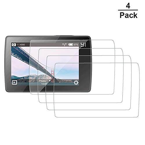 (Pack of 4) AKWOX Tempered Glass Screen Protectors Compatible Xiaomi Yi II 4k Action Camera, Anti-Scratch Screen LCD Display Protector Compatible Xiaomi Yi 2 4k Film Accessories
