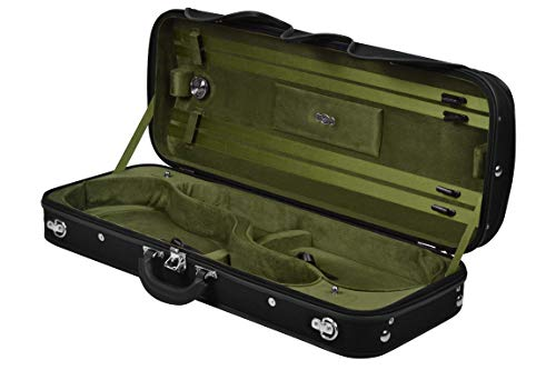 Milano Wooden Double Case for Violin, Black and Olive Green Blanco Y Gris