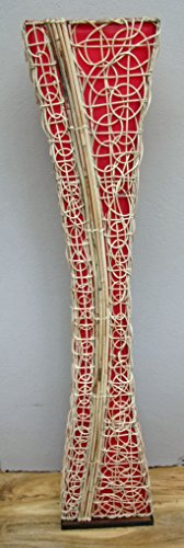 Unusual Hand Made Natural Rattan Contemporary Red Bali Floor Lamp 150cm