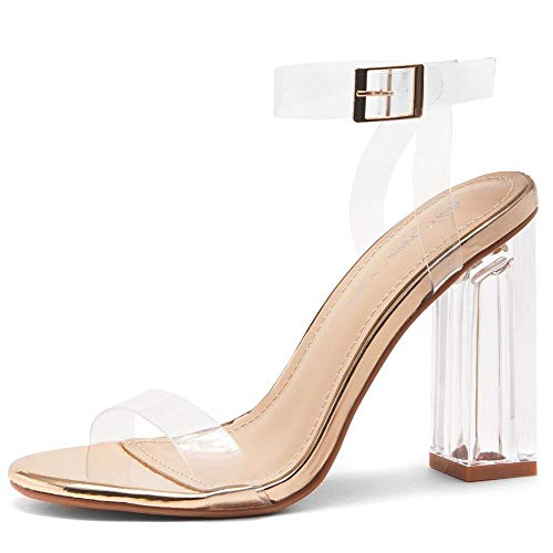 Shoe Land SL-CLLAARY Women's Perspex Heel Ankle Strap Adjustable Buckle Lucite Clear Block Chunky High Heel Open Toe Sandal ClearRoseGold 9.0