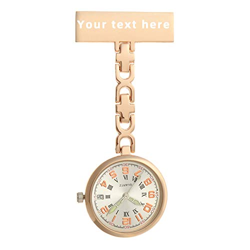 ENtoo Reloj de Enfermera, Reloj de Enfermera Grabado Personalizado, Reloj de Bolsillo médico con Clip para Hombres, Cuidado de la Salud, médico, paramédico, Broche, Reloj de Pulsera con Calendario